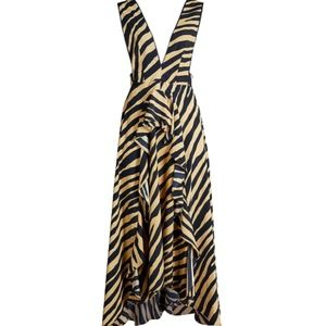 TopShop Zebra Print Ruched Crepe Pinafore Dress